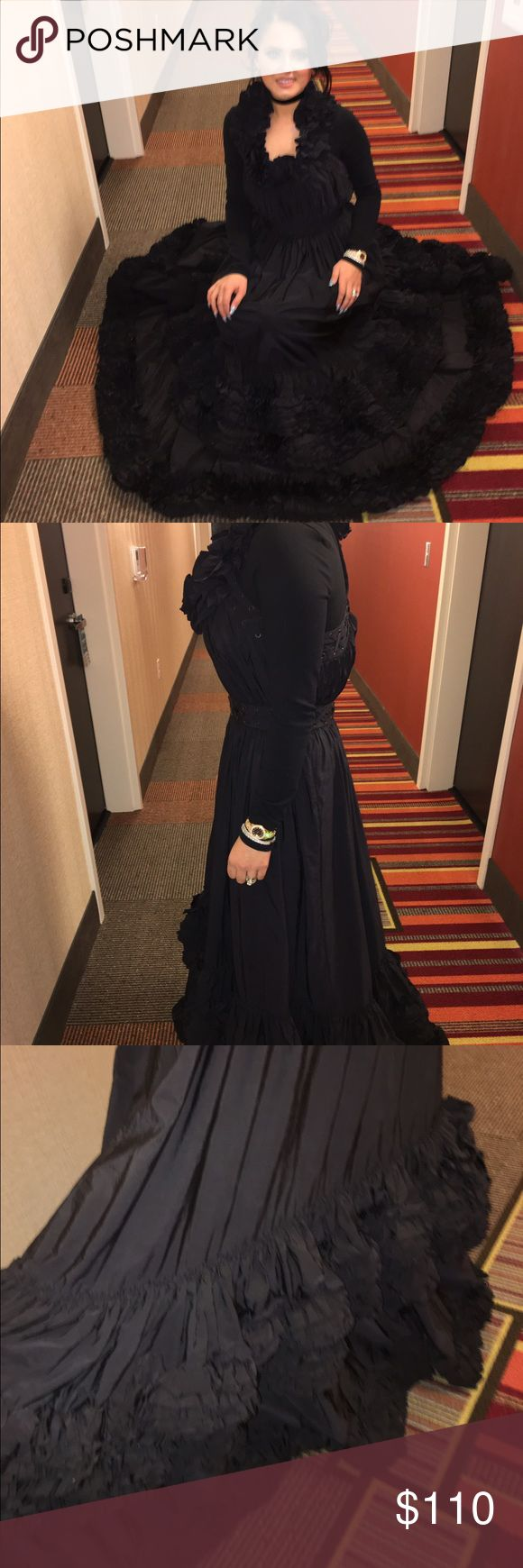 All saints long ruffle dress sz 4/6 All saints Beautiful long ruffle dress size 10 USA size 4/6 black worn one time All Saints Dresses