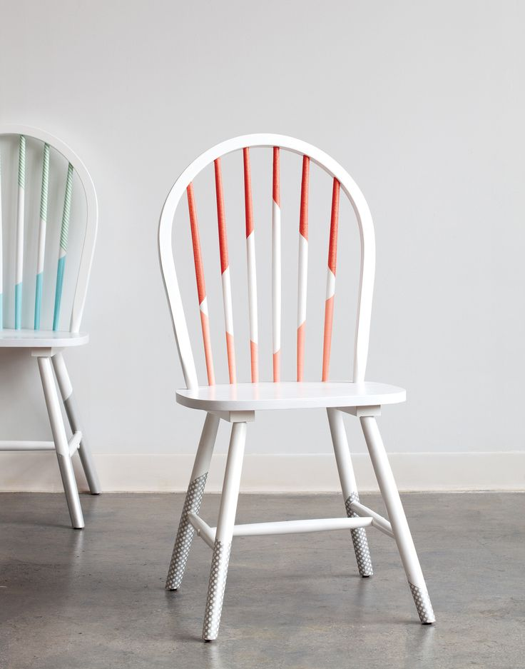 Washi Tape Chair Re-Do via @ofakind #makeover #upcycle #redo #chairs #home #DIY #decor #retro #vintage