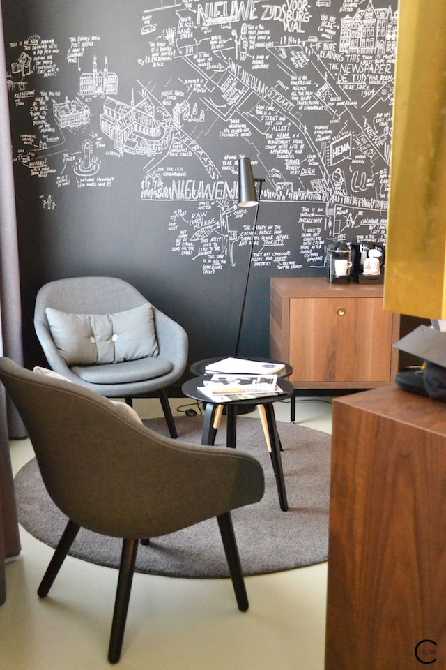 The Hotel room with lounge spot   HAY furniture, special black and white wallpaper and brass gold walnut cabinet and desk   Ink Hotel Amsterdam   Tried + Tested   Design Hotel   Boutique Hotel   Picture © By C-More