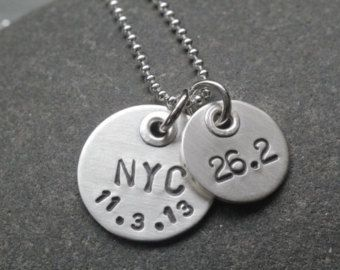 Sterling silver marathon necklace running jewelry by noisycricket