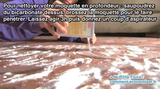 Utilisez du bicarbonate pour nettoyer en profondeur moquette très sale