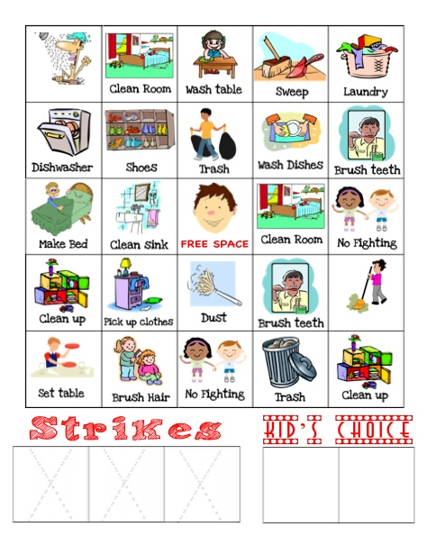 """I am using this for my oldest son while we are home during the week.    He HAS to earn 2 BINGO'S daily.  He can earn a """"kids choice"""" (rewards such as computer time, or an ice cream ) for each additional bingo.    If he miss behaves, he gets a strike.  3 strikes, he earns a consequence."""