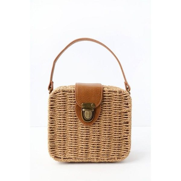 Lulus  Brookhaven Tan Woven Basket Purse  Brown  Vegan Friendly ($30) ❤ liked on Polyvore featuring bags, handbags, brown, faux-leather handbags, vegan purses, vegan hand bags, tan handbags and faux leather purses