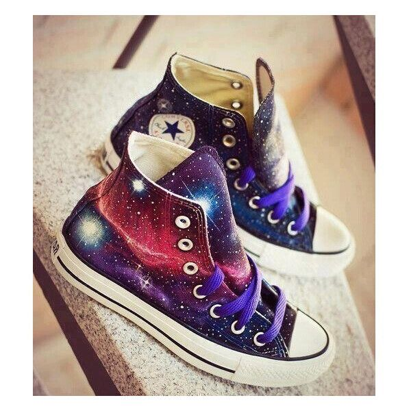 Galaxy Converse shoes Custom Converse Galaxy Converse Sneakers... (92 NZD) ❤ liked on Polyvore featuring shoes, sneakers, converse, zapatos, waterproof footwear, waterproof sneakers, converse trainers, low shoes and canvas shoes