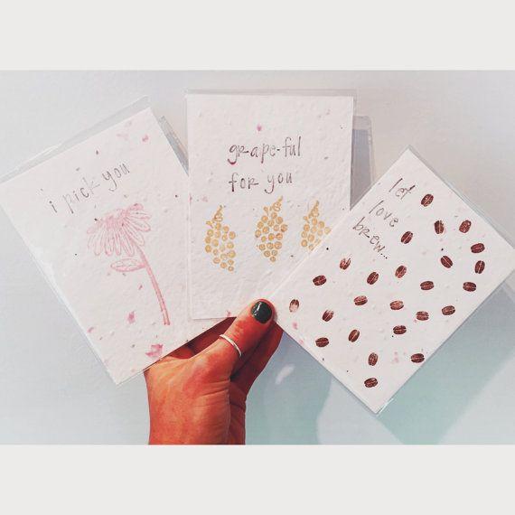 Wenskaarten zaad papier Wildflower zaad papier door SweetThymeDesign