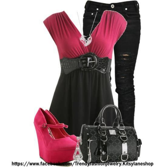 Black pant, dark red blouse, high heel shoes and hand bag for ladies