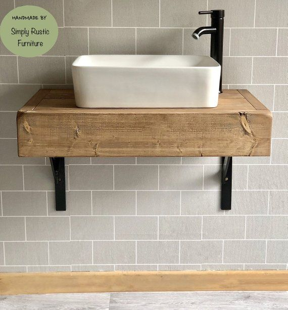 The Floating Beam Shelf Wash Stand Hand Crafted Rustic Bathroom Vanity Unit Wooden Van In 2020 Industrial Bathroom Decor Floating Bathroom Vanities Bathroom Sink Units