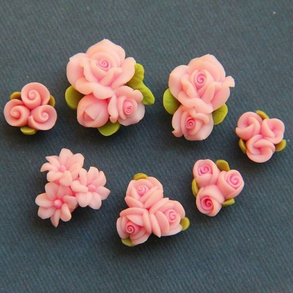 7pcSetPinkPolymer Clay DIY Flowers for Earring by naturaler