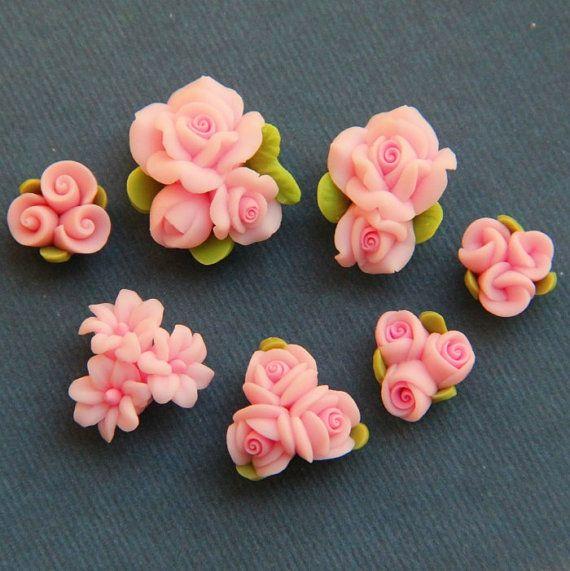 7pc-Set-rosa-arcilla del polímero de DIY Flores para el anillo del pendiente pendiente
