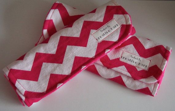 Set of 2 Baby Pink Chevron Burp Cloths by BecsCreativeBarn on Etsy