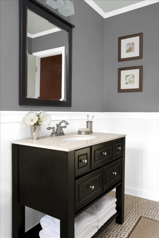 Gray and white bathroom guest bath bathrooms pinterest for Grey and white bathroom accessories