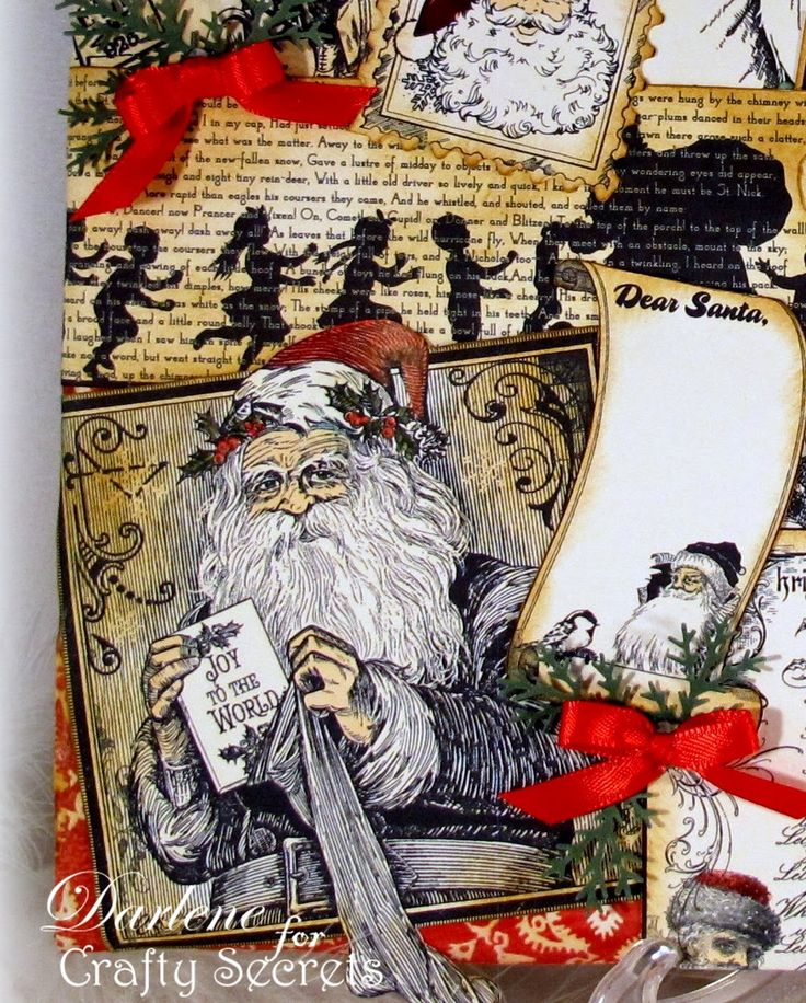 Altered Santa Canvas using Crafty Secrets Vintage Santa Digital Stamp Set. DT Member Darlene Pavlick used several of the old fashioned Santa's and has a full tutorial showing how she created her canvas.