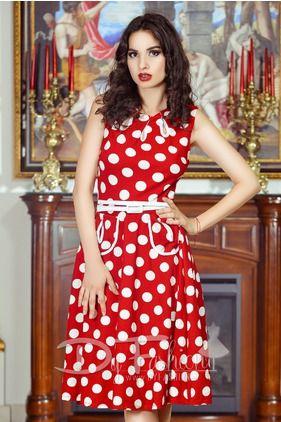 Rochie Red Polka - Este o rochie midi eleganta de zi de vara in nuante de rosu…