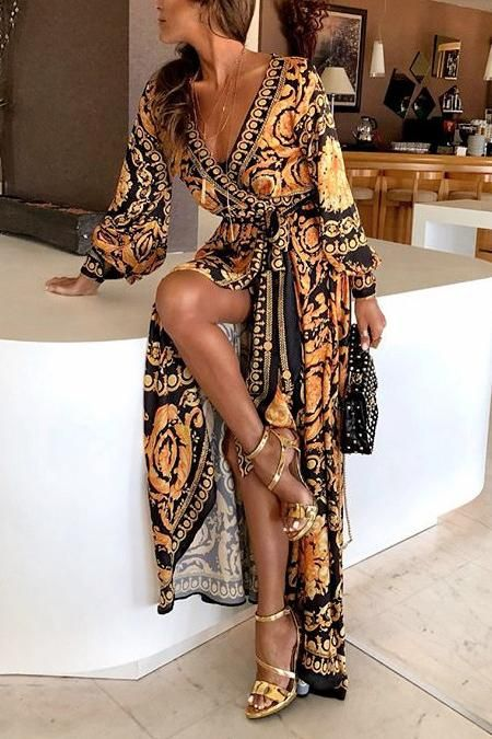 a21739eac4e2 Early Autumn Long Sleeve V-Neck Print Maxi Dress in 2019