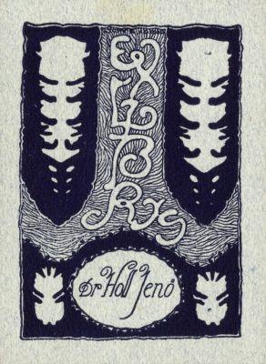 Bookplate by Kálmán Tichy for Holl Jenő, 1915c.
