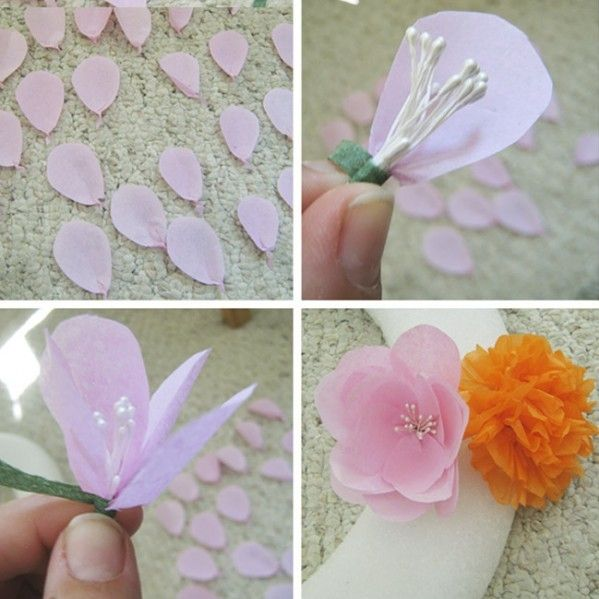 Brace yourselves for paper flowers galore! Hillary created tissue paper flower wreaths to be used for one of her brides' wedding as centerpieces. We're in awe of the color burst of paper craftiness. Paper Rose Tutorial: Step 1. Take six or seven layers of tissue paper and cut about 4 different sizes of petal shapes …