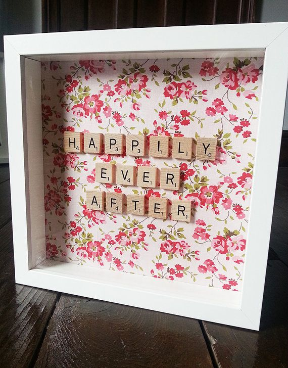 Personalised scrabble frame, personalised with wooden scrabble tiles and fabric to suit personal taste. A perfect wedding gift! Something that