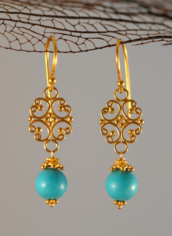 22k gold vermeil and turquoise earrings, #delezhen, #handmade jewelry