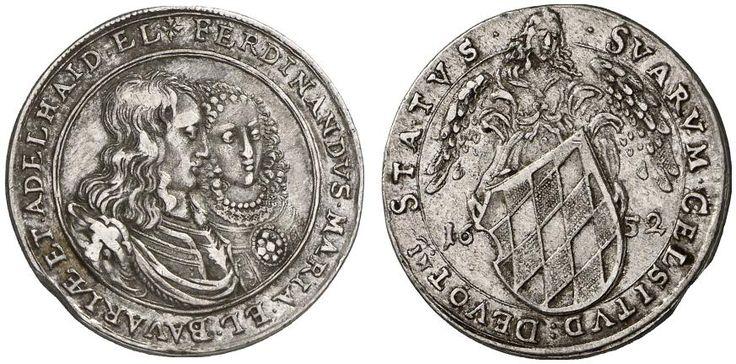 AR Silver striking of the 3 Ducat. Germany Coin, Bavaria, Ferdinand Maria 1651-1679. 1652, Munich mint. 8,65g. Witt 1354. R! Good VF. Price realized 2011: 800 USD.