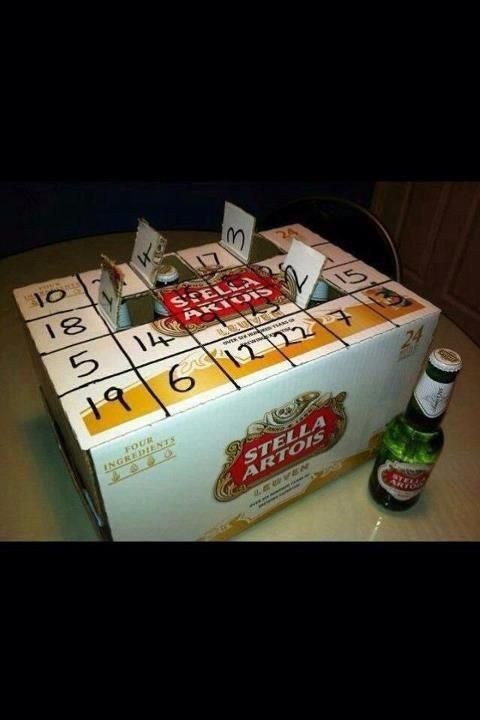 Advent Calendar ((either empty case or remove beers, add s'prises, cover w.fabric or CMAS WRAP PPR))