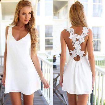 Modaling Mujer de encaje una línea de vestidos - Blanco
