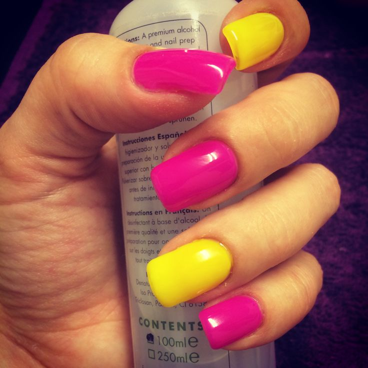 Finally Did My Own Nails!! Neon Pink And Yellow Gel Polish