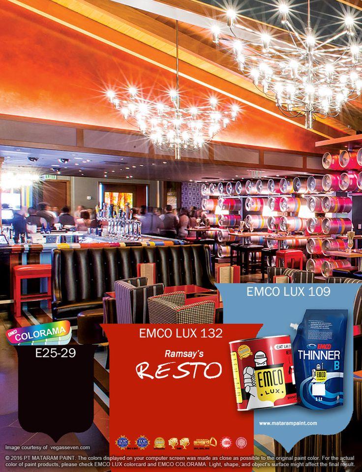 Kawan EMCO yang ingin punya bisnis kuliner, apakah kalian tertarik memberi dekorasi tradisional dengan sentuhan modern pada restoran kalian? Jadikan EMCO LUX 132, EMCO LUX 109 dan EMCO COLORAM E25-29 sebagai alternatif warna restauran Anda. Cek inspirasi warna lainnya di www.matarampaint.com