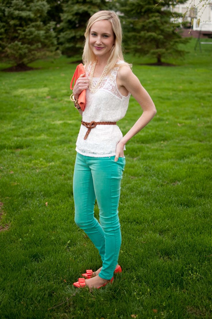 Visiting the Parents: Lace Tops, Teal Jeans and Orange Accents - Kelly in the City