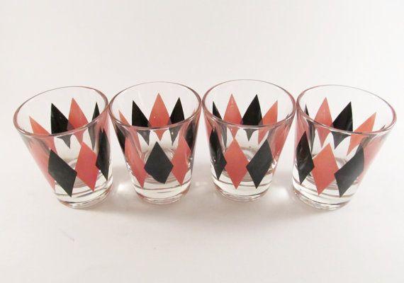 Midcentury Modern Diamond Shot Glasses  Pink and Black by ThreeBestGirls