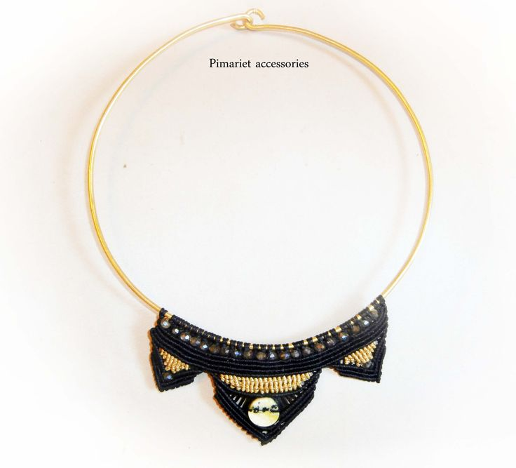 necklace gold black statement