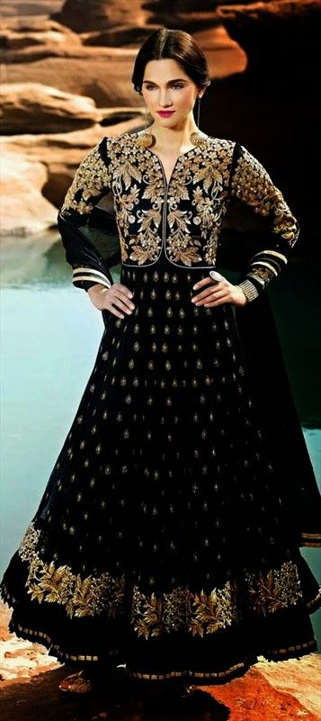 409360, Anarkali Suits, Net, Stone, Thread, Lace, Resham, Black and Grey Color Family