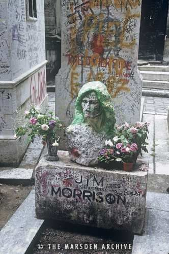 Jim Morrison's Grave, Pere Lachaise Cemetery, Paris, France  The Bust was gone when we where there.