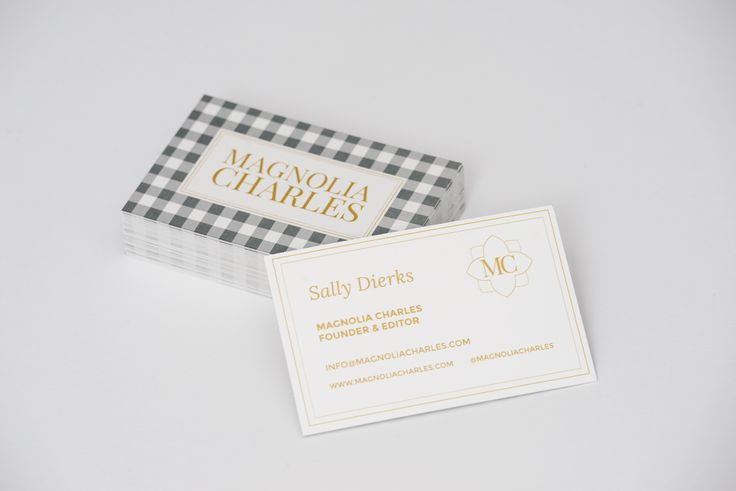 Gingham grey gold business cards Magnolia Charles