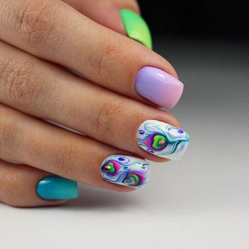 "рисунок на ногтях ""перо жар птицы"""