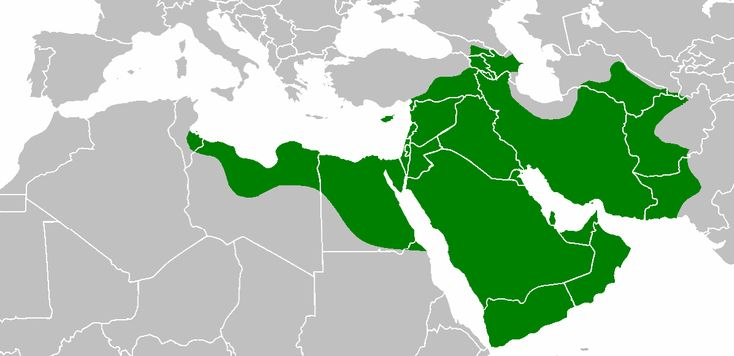 Rashidun Caliphate at its greatest extent, under Caliph Uthman's rule, in 654