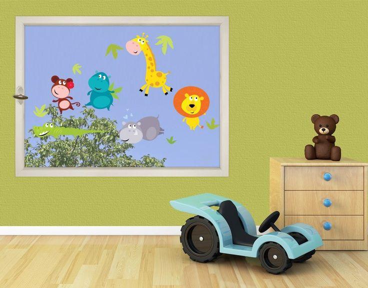 fenstersticker dschungeltiere babys fantasiereich zauberhafte kinderzimmer wandtattoos. Black Bedroom Furniture Sets. Home Design Ideas
