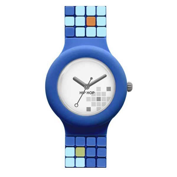 Un look grintoso ma particolare e ricercato con la versione Blue della collezione Hip Hop Mosaic: Cassa 32 mm, cinturino in silicone dipinto a mano