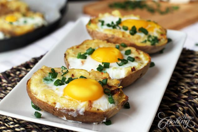 Turn your farm fresh eggs into a delicious, hearty dinner tonight! | Twice Baked Potato with Egg on Top