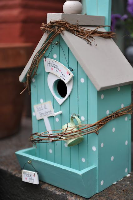 turquoise bird house, how cute