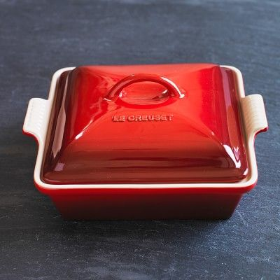 Le Creuset Heritage Stoneware Shallow Square Covered Baker #williamssonoma in matte navy
