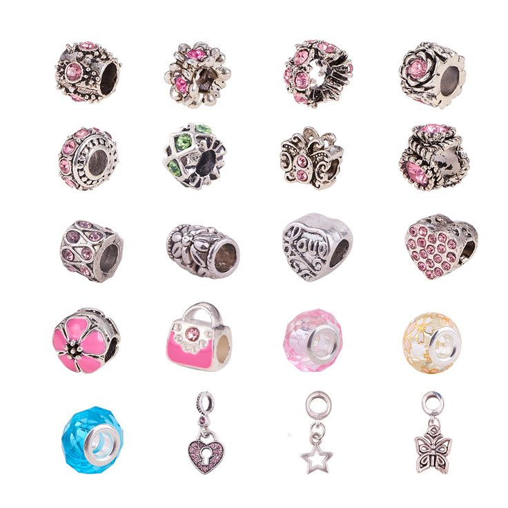 PandaHall Elite Large Hole Beads European Beads Sets with Alloy European Beads(Rhinestone/Enamel) and Glass European Beads #pandahallelite #beads #craftbeads #europeanbeads