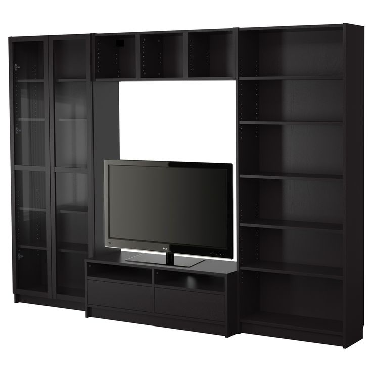 BILLY Bookcase combination with TV bench - black-brown - IKEA.  Can get glass doors and height extensions for these cases.