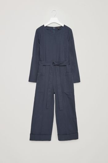COS image 2 of Canvas jumpsuit in Steel Blue
