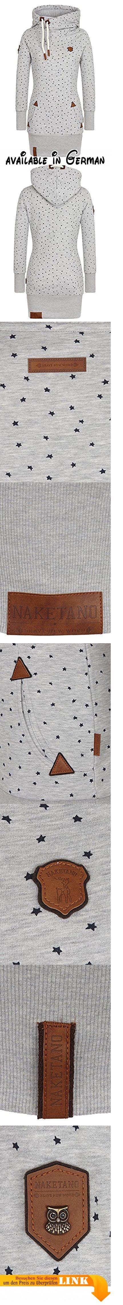Naketano Damen Longsweat grau XS. Langer Hoody mit überschlagenem Kragen, Allover Druck. 65% Cotton, 35 % Polyester. Maschinenwäsche bei 30°C, nicht Trockner geeignet, nicht bügeln, nicht chemisch Reinigen #Apparel #SHIRT