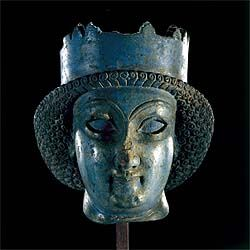 Lapis Lazuli head of a statue. From Persepolis, on loan from the National Museum of Iran.