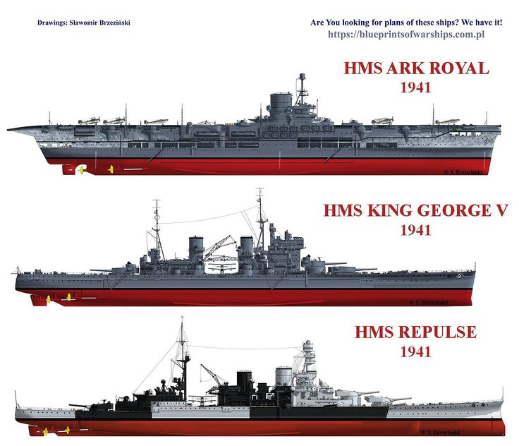 HMS British Royal Navy Ships Comparisons 1941: Ark Royal, King George V and Repulse.