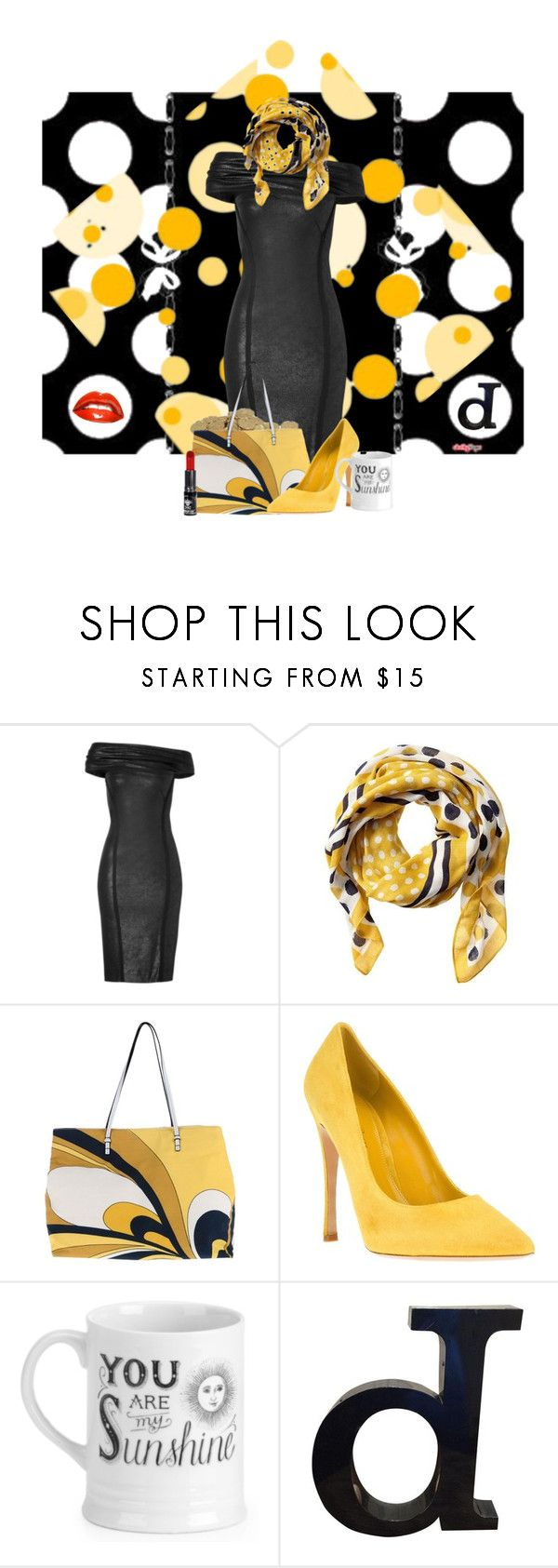 """""""Sunshine on a Dark Day"""" by duci ❤ liked on Polyvore featuring Donna Karan, Banana Republic, Blue Les Copains, Gianvito Rossi and Manic Panic NYC"""