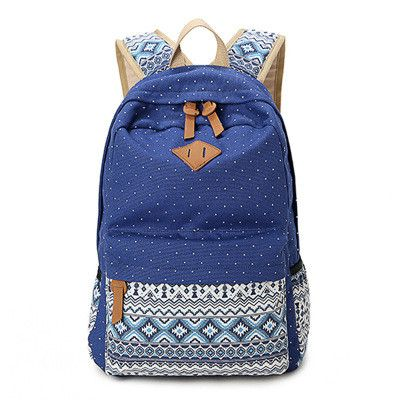 New Arrival Fashion Natural Canvas Women School Bags Prety Teen Backpack Travel Bag