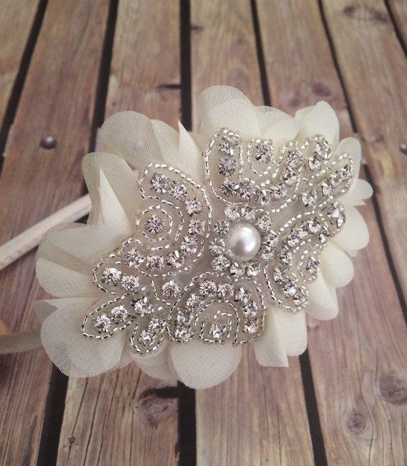 Diadema de diamantes de imitación diadema marfil venda de la