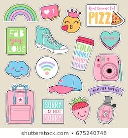 Set of fashion teenage girls patches, cute pastel badges, fun cartoon icons vect…
